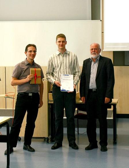 Preisverleihung (Jun.-Prof. Dr. Frank Ortmeier, Preisträger Dipl.-Inform. Thomas Thüm, Prof. Dr. Rudolf Kruse, Photo: Pawel Matuszyk)